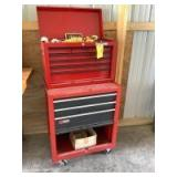 Craftsman two piece rolling toolbox measures 27 x 19 x 48. Has lift lid, 10 drawers and lower storage