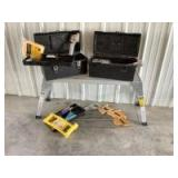 Saws, panel carry board, roller, knee kicker, carpet tape, super sponge, grout pieces and tools. See all photos