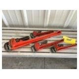 """Four piece pipe wrench set including Rigid Heavy duty 24"""" Craftsman 10"""" and two Fuller"""