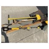 Yard tools-shovels, broom, scrapers and potato fork