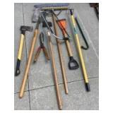 Yard tools-Spade, axe, pruner,prybar, cultivator, scraper, push broom. See all photos