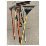 Yard tools-rake, broom, flat edge spade, rakes, pruners. See all photos