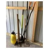 Tampers, pick ax, sledgehammer, post hole digger and yard sprayer