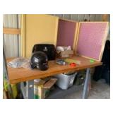 """Workstation and cupboard with pegboard and all contents. Table measures 64 x 31 x 35 and cupboard measures by 8"""" deep x 30""""L"""