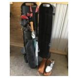 Golf clubs and bag with airline carrier and men's size 11 HiTec golf shoes See photos for club details