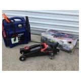 GM Performance Parts 2 ton hydraulic trolley jack and JNC660 12V power supply and jump starter with auto charge technology