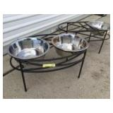 Two elevated dog feeding stations