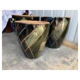 Three large ceramic outdoor pots