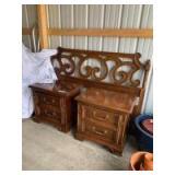 Queen size headboard and matching two drawer nightstands