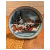 """P Buckley Moss Annual Art Plates series Signed/Dated """"Christmas Sleigh"""" 1987 Fourth in the Series 4734/7500"""