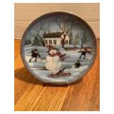 """P Buckley Moss Annual Art Plates series Signed/Dated """"The Snowman"""" 1991 Eighth in the series No. 2054/7500"""