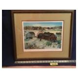 """Framed S/N Will Moses print """"Cows Are Out"""" 304/500 Measures 21 x 18"""