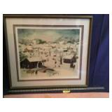 """Framed S/N Will Moses print """"Let it snow"""" 116/500 Measures 30 x 26"""