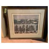Three pieces of Grandma Moses art Measure 15 x 12, 26 x 20 and 25 x 22