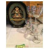 Anheuser-Busch oval tray w 5 Budweiser glasses