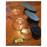 Three glass Pyrex bowls with lids-7200-PC, 7402 and 7403
