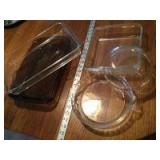 Pyrex glassware-two rectangular dishes, one square, one pie plate and one casserole without the lid