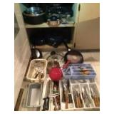 Pots & pans-Rachel Ray, Rondine Megaware, Oneida, Wilton, cookie sheets, pizza pans, knives, kitchen utensils and more