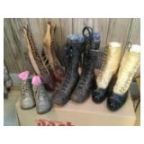 Three pair of Victorian button and lace up ladies boots, three pairs of baby shoes and two pairs of children