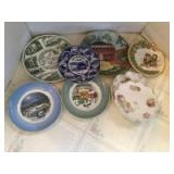 Box of collector plates include Avon 1979 & 1980, Suzanne Riette set of plates and others