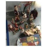 Misc. decorator Christmas oriented items-funny Santas, set of 5 nesting dolls, pine sled, snowmen