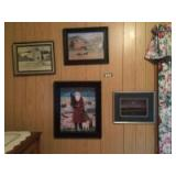 Four pieces of framed wall art