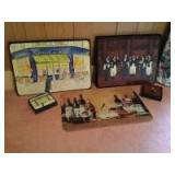 Two sets of Italian themed placemat and coaster sets along with a glass wine bottle motif cutting board