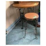 """30"""" round x 30"""" tall ice cream parlor table with oak top and 1 matching bar stool ice cream parlor style wrought iron twisted legs"""