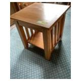 """Mission oak style lamp table measures 21 x 21 x 22""""H and appears to match lot# 8344"""