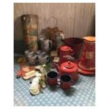 Painted broken tile artwork, red speckled enamel ware, old fashioned glasses, quilt scrap mittens, 3 bibles 1930's, red floral pitcher and plate