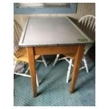 """Mother Hubbards """"Sani-table"""" porceliron enamelware table with drawer measures 40x27x32, two Windsor back kitchen chairs"""