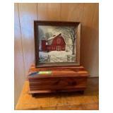 Cedar box measuring 20 x 9 x 9, framed art red barn and silo on canvas style medium