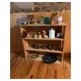 """38""""x9""""x36 wooden shelf and contents including milk glass, wooden clogs, ceramic shoe planter, recipe box, Ely Iowa train plate, handcrafted in Japan m"""
