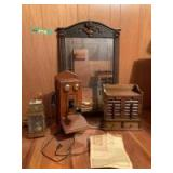 Beautiful old mirror with ornate edges, Guild Country Belle telephone radio (doesn't seem to work), lamp and Guild Spice Chest Radio (works, but doesn