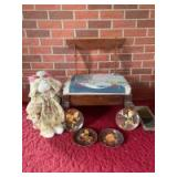 Foot rest (needs recovered), bunny rabbit on ice cream parlor chair, wall shelf and four Juan Ferrandiz collector plates Stool measures 20 x 12 x 12