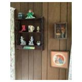 Hanging wall shelf w Lladro style figurines, coffee mugs, shamrock angel and wall art Two pieces of wall art are marked Handmade in Italy, appear to b