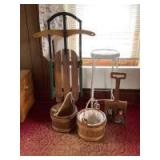"""Jack & Jill's water pails, child size runner sled, hand painted """"shovel"""" and 2"""