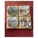 """Four Grandma Moses """"Memories of America"""" plates-Rainbow, The Old Automobile, Halloween and Bringing in The Maple Sugar. All w Certificates of Authenticity"""