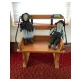 Buggy style seat w Amish boy and girl Measures 19 x 12 x 22