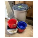 32 gallon Roughneck trash can w locking lid and quantity of mop buckets and dish pans
