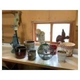 Yard decor-flower pots, figurines, birdfeeder