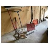 Yard tools-Claw, post hole digger, pry bar, pruners, snow shovel, hoe, sledge hammer, Fiskar potato fork, spade, and more