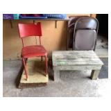 Bench, outdoor rugs, two folding chairs and a hot red retro chair