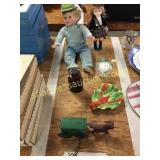 Dolls, horse and wagon, misc