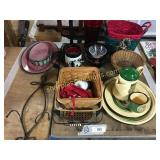 Xmas items, coffee pot/cup plates, misc