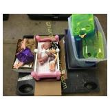 Pallet of animal cage, dolls, books, misc