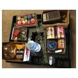Pallet of toaster, tins, tools, misc