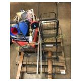 Pallet of luggage cart, gun rack crutches, misc