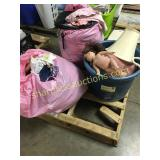 Pallet of toys, clothes, shower seat, misc