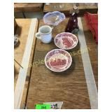 Plates, cup, misc